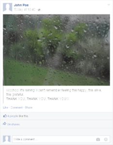 a facebook post about rain
