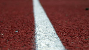 running line on a track field