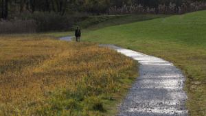 Walking away, down a path.